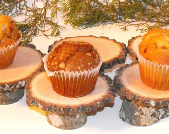 25 mini cake stands ~ Rustic Tree Slice Cupcake holders ~ wedding ~ Baby shower ~ Shabby Chic Holiday Party ~ BBQ ~  Reunions ~ Baptismal