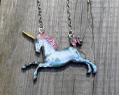 Vintage Style Wooden Unicorn Necklace / Card / Free UK Post