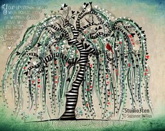 Weeping Willow with Cardinal / Tree Nature Cardinal Print original illustration ART Print Hand SIGNED size 8 x 10