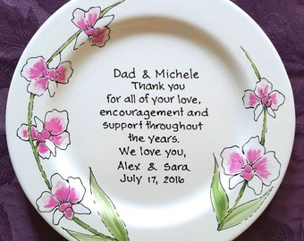 Wedding Gift for Parents Plate  - Thank you Mom and Dad - Thank you parents - Parents gift - Gift for mom and dad - Orchids