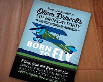 AIRPLANE Birthday Boy Printable Party Invitation in Navy Blue and Green