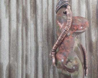 Wire Wrapped Pendant | Copper | Goddess Pendant | OOAK | Fertility | Oxidized Copper Pendant