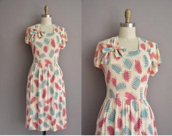40s blue and pink print vintage dress / vintage 1940s dress