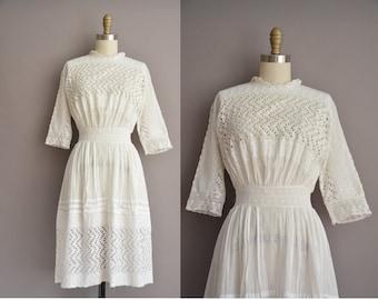 antique white cotton lace edwardian lawn dress / vintage 1910s dress