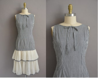 Edith Flagg 50s cotton black & white gingham tier vintage dress / vintage 1950s dress