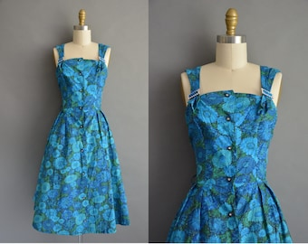 50s floral cotton rhinestone buckle straps vintage dress / vintage 1950s dress