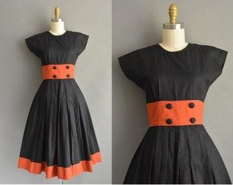 50s black and burnt orange cotton vintage dress / vintage 1950s dress