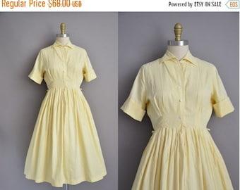 25% off SHOP SALE... 50s pastel yellow vintage cotton shirt dress / vintage 1950s dress