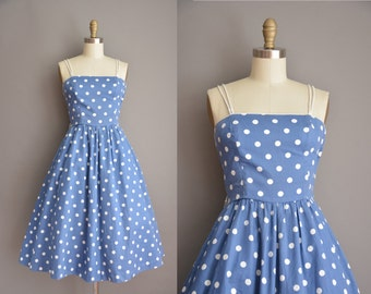 50s inspired blue cotton white polka dot vintage dress / vintage 1950s dress