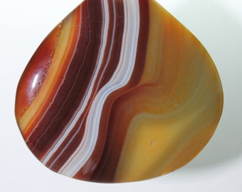 Agate Slice Focal Pendant - Beautifully stunning Gold Brown Tear Drop Striped Landscape