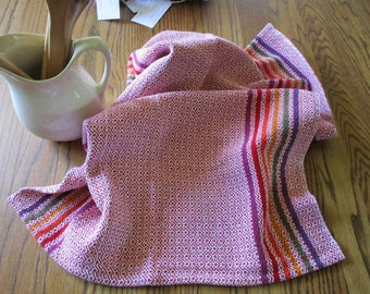 Handwoven Cotton Kitchen Towel Red with Rainbow Stripes