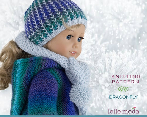 Really Simple Knitting Patterns For Dolls Clothes : Knitting Pattern Winter Hat and Scarf fits American Girl