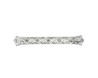 Summer Sale Edwardian diamond bridal wedding brooch 18 karat white gold 1.05ct old European cut diamonds
