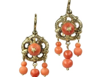 20% Off Valentine Sale Coral Bead Earrings Victorian chandelier earrings coral beads 18k yellow gold ca.1850