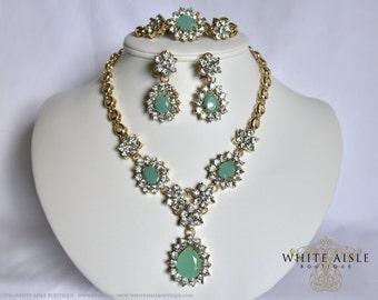 Mint Wedding Jewelry Set, Vintage Inspired Necklace, Crystal Statement Necklace, Bracelet, Bridal Necklace, Drop Necklace Earrings