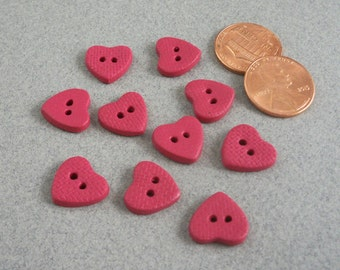 Tiny heart buttons for doll clothing dark pink clay