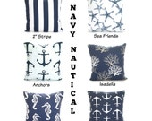Nautical Throw Pillow Covers Navy Blue Cotton Pillows, Decorative Cushions Premier Navy Blue White, One or More ALL SIZES Mix & Match