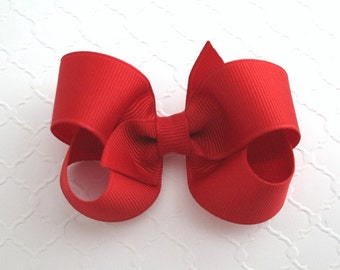 "3"" Red Christmas Boutique Hair Bow ~ Girls Hair Bow ~ Classic Hair Bow ~ Toddler Girl Hair Bows"