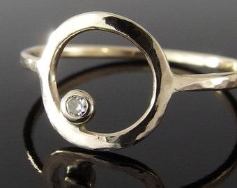 Moissanite and 14k Gold Circle Ring, Moissanite Circle Ring, Gold Circle Ring, Gold Halo Ring, Alternative Engagement Ring, Moissanite Ring