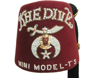 Vintage Shriners Fez Hat Mens Khedive Mini Model Ts Ornate Masonic Fraternal Fez Hat with Shriner Pin with Tassel