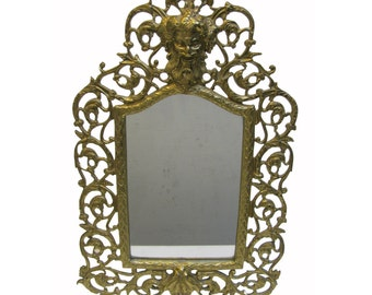 Vintage Devil Brass Mirror Antique E Blaesius Bacchus Satyr 15 Inches Tall Tabletop Mirror