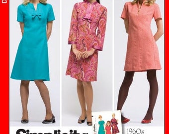 SZ 6 thru 14 - Misses' A-Line Dress in Three Variations - Vintage 1960's Reissued Pattern - Simplicity 3559