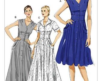 SZ 16/18/20/22 - Vogue Dress Pattern V8577 - Misses' Flared V-Neck Shirtdress in Three Variations - Vogue Patterns