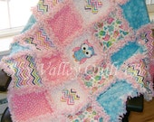 Baby girl Rag quilt  NEW Summer Owls in Turquoise and Pink