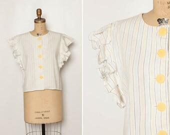 vintage 80s Gunne Sax blouse boxy crop top
