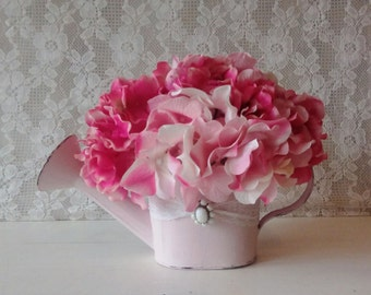 Small Table Top Arrangement, Pink Hyrangeas, Shabby Cottage, Vintage, Pink water can arrangement,Romantic Cottage