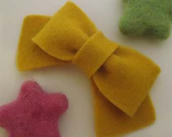 NO SLIP Wool felt hair clip -classic bow -mustard (pick size and colour)