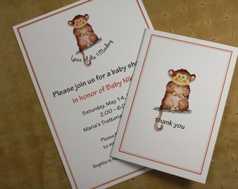 Year of the Monkey Set. Custom Invitations/Announcements with Matching Thank You Notes. Customized. 10 Invites, 10 Thank Yous