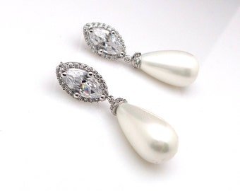 Bridal earrings wedding jewelry prom party bridesmaid gift white cream teardrop shell pearl earrings marquise cubic zirconia post earrings