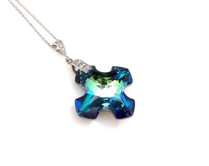 Swarovski bermuda blue Greek cross crystal pendant rhodium cubic zirconia deco bail and sterling silver chain necklace bridesmaid gift
