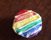 Pride Jewelry , Rainbow Pin, Gliw in the Dark Pride Pin, Recycled Bent Bottle Cap Pride Rainbow  shipping included