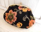Vintage Make up Bag Chenille Clutch Boho Purse Floral Ladies Accessory Purse
