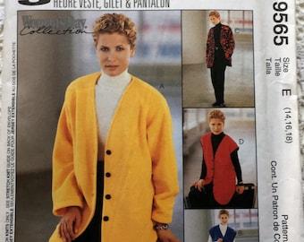 Vintage McCall's 9565 Oversize Jacket Vest Pants Gilet