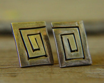 Vintage 70s-80s Mexican Sterling Silver 925 Square Spiral Earrings Retro Modern Geometrical