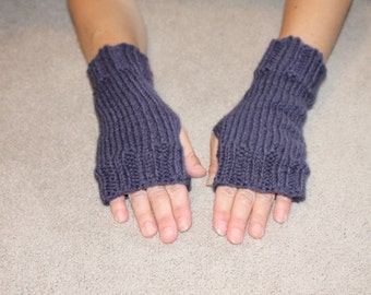 Hand Knit Fingerless Mittens/Texting Gloves-Purple  100% Wool  Wrist Warmers