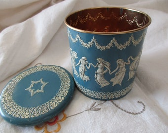 Vintage blue and white TIN -Made in HOLLAND, floral, jasper, dancing ladies