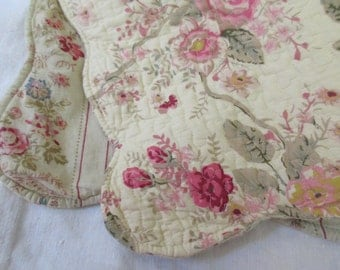 square throw pillow cover- sham, quilted, floral, cream, pink, roses