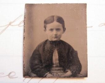 antique miniature tintype photo - gem type - child - late 1800s photo - gt96