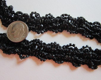 vintage beaded trim - 34 inches - black glass beaded trim, as is, salvaged trim - 5/8 inches
