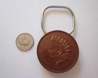 vintage 1877 Indian Head penny key ring - plastic key ring with advertising - coin showring - replica plastic coin