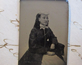 antique miniature GEM tintype photo - woman with hat and long chain, sitter, jewelry, late 1800s - gtc67