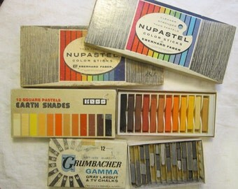 vintage pastels and color sticks - NUPASTEL, Koss, and Grumbacher - used