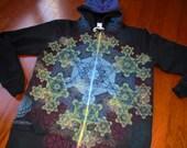 L Metatron's Cube Fractal Mandala Sacred Geometry Zip Hoodie w/ Flower of Life, Hexagon, Honeycomb
