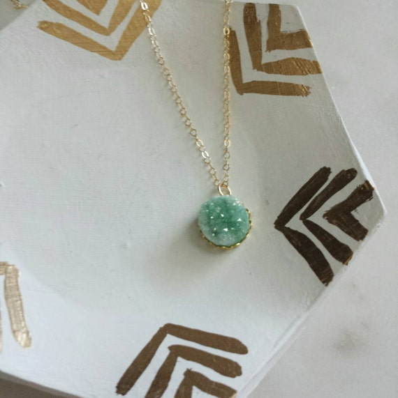 Tiny Mint Druzy Necklace