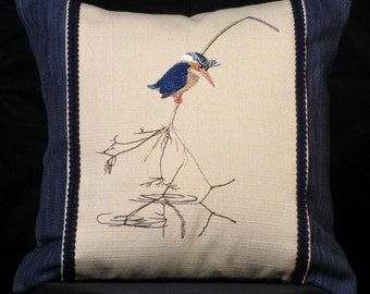 New Embroidered Pigmy Kingfisher Accent Pillow New 14 x 14 Insert — Item 185
