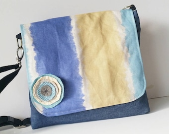 Messenger Bag, soft denim and watercolour fabric. Beach inspired bag. Pocketbook. School bag. Cross body strap. Ipad.
